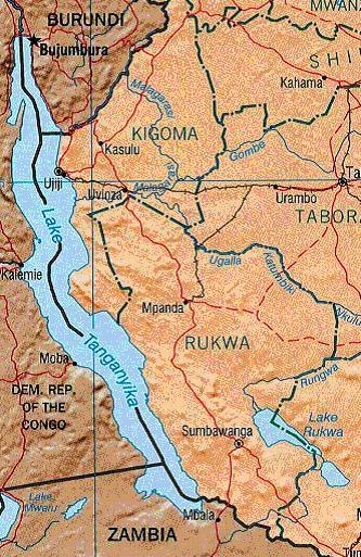Mappa del Lago Tanganica