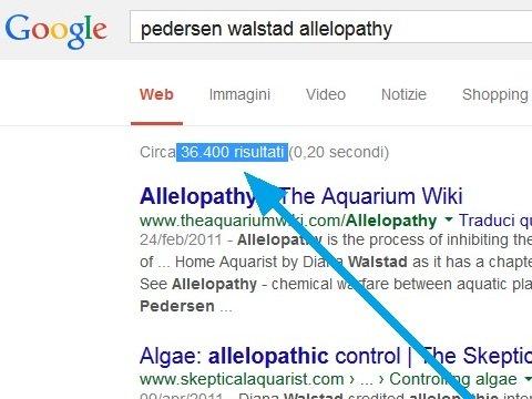 "Risultati di una ricerca Google per i termini ""Allelopatia"", ""Walstad"" e ""Pedersen"""