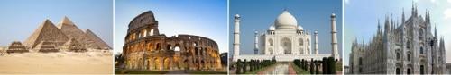 Le Piramidi di Giza, il Colosseo,il Taj Mahal,il Duomo di Milano