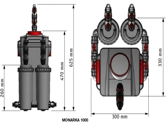 Monarka 1000 dimensioni