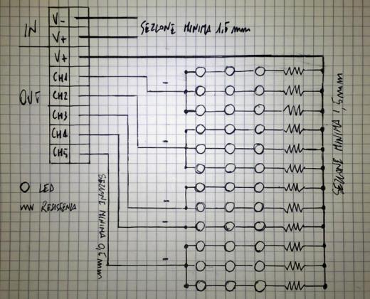 Schema collegamento LED