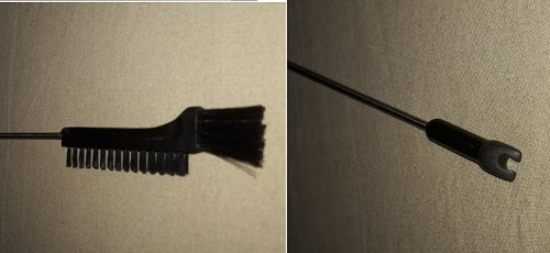 Estremità del sondino: spazzolina e forcella