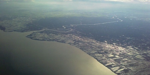 Mouth of the Mae Klong River aerial view