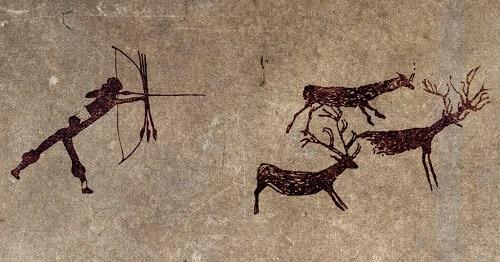 Scena di caccia nella preistoria