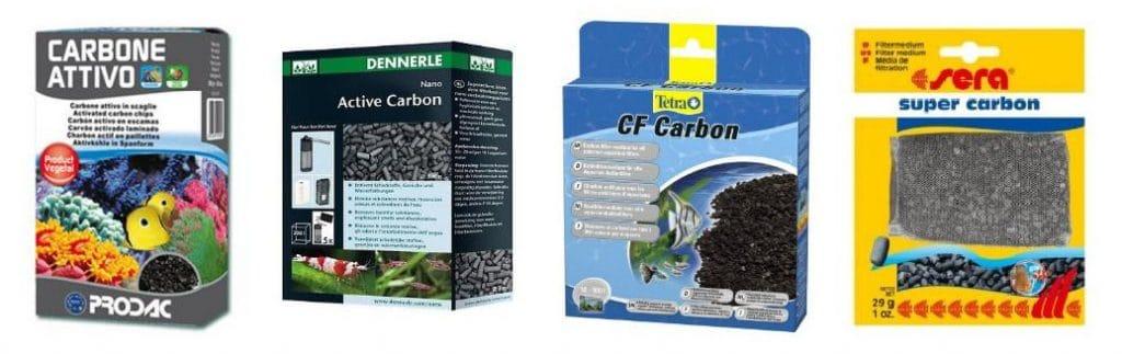 Carbone attivo di alcune marche