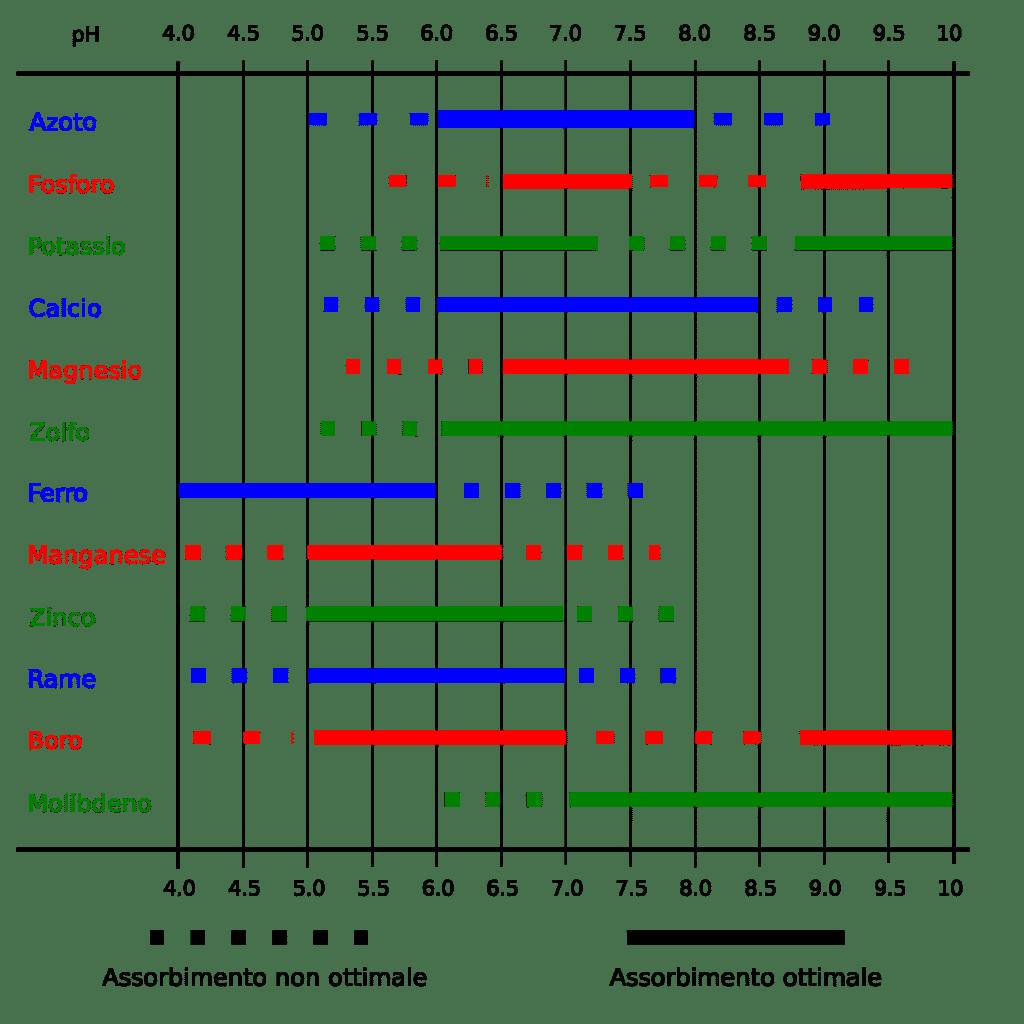 Tabella di assorbimento dei nutrienti in relazione al pH