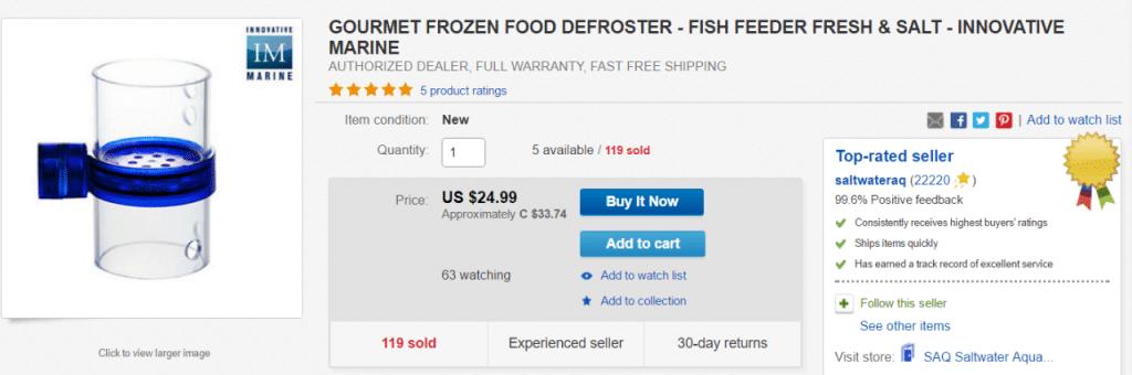 Distributore cibo congelato per acquario