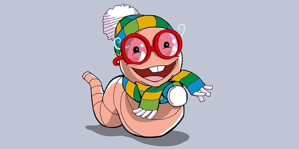 Figura di un cartone animato che sembra un verme