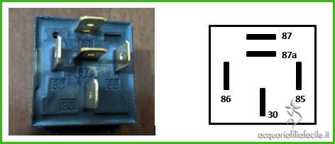 Piedini del relè che utilizziamo per la protezione dei sensori di livello per il rabbocco automatico