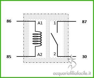 Schema del relè con l'indicazione dei piedini